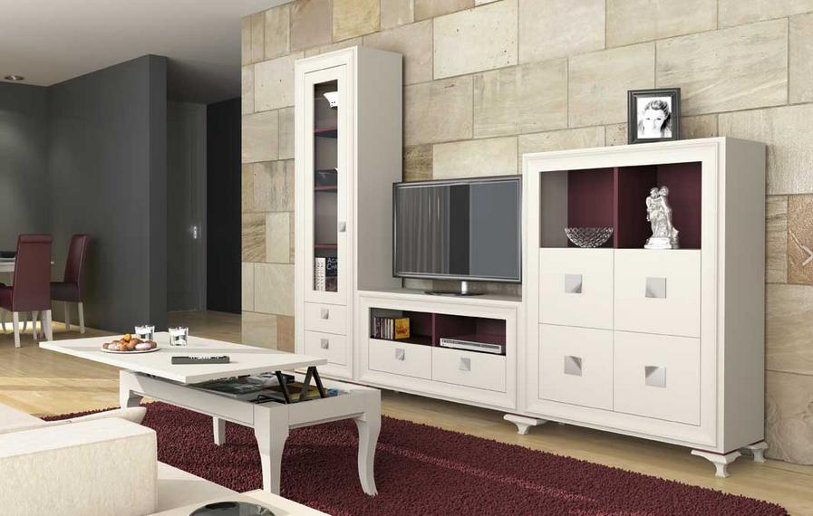Muebles Lacados Blanco Para Salon.Mueble Salon Lgant Lacado Blanco Purpura 2 80 Comercial Gran Via