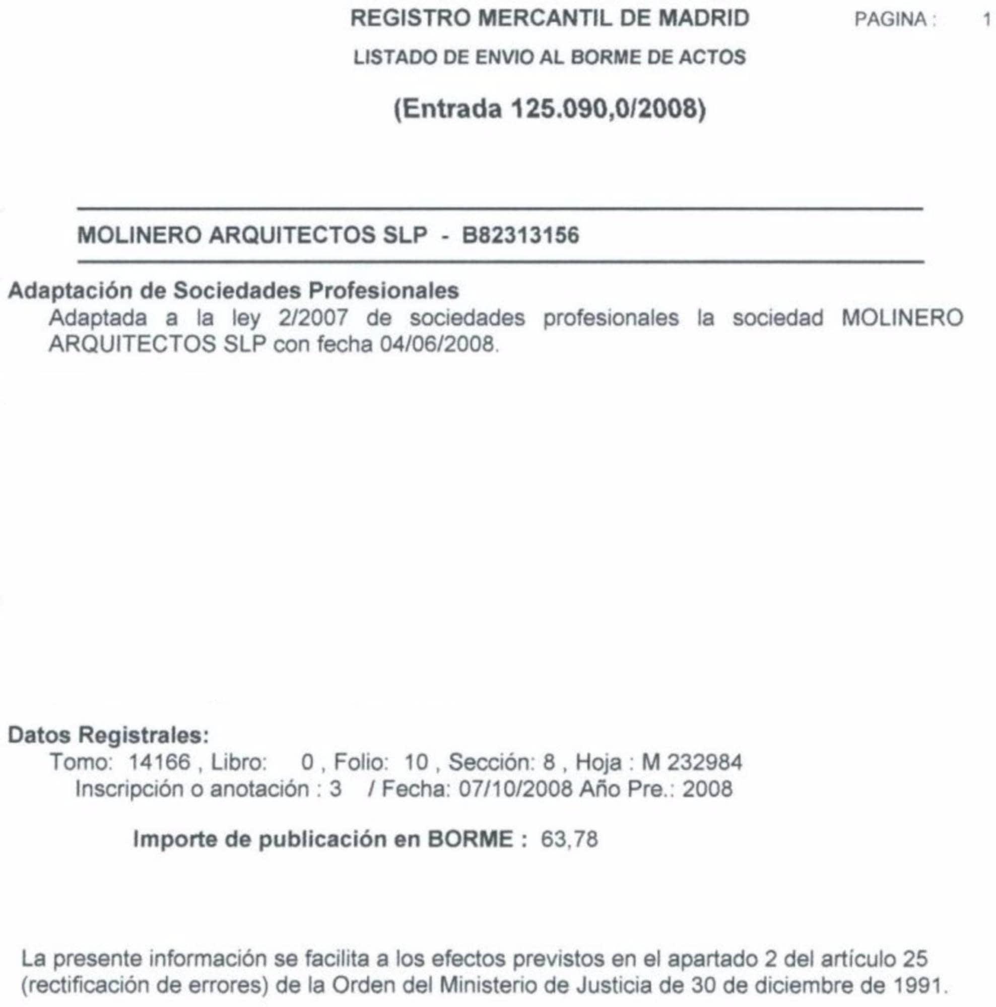 Registro Mercantil de Madrid   Estudio de Arquitectura